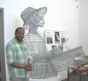 Carl with wire sculpture